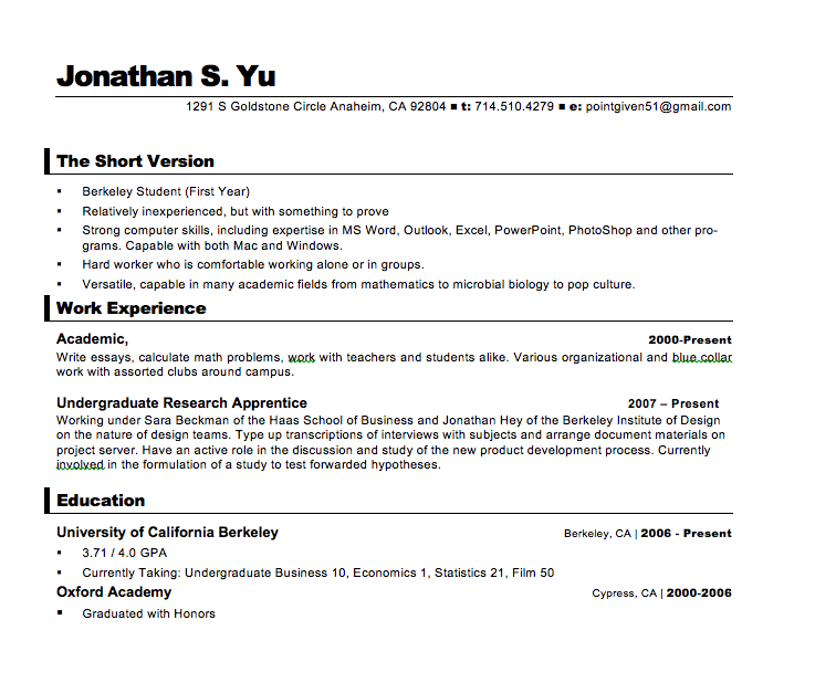 looking over 6 years of resume evolution perfect perusals